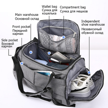 Bolsa de gimnasio multifunción de 15 pulgadas para hombre, bolsas deportivas para mujer, bolsas para Fitness, mochilas para ordenador portátil, bolsa de almacenamiento de mano para viaje con zapatos de bolsillo para Yoga