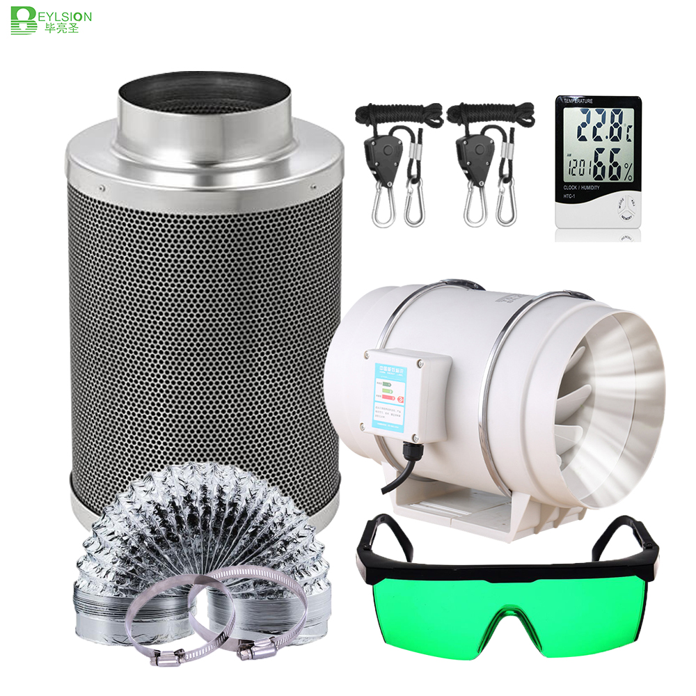 BEYLSION 4/5/6/8/10Inch Centrifugal Fans Activated Carbon Air Filter Set Indoor Hydroponics Grow Tent full kit For Grow Box(China)