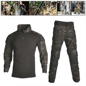 Tactical Frog Suits Shirt And Pants With Knee Elbow Pads Airsoft Sniper Combat Camouflage Hunting Clothes Army Military Uniform
