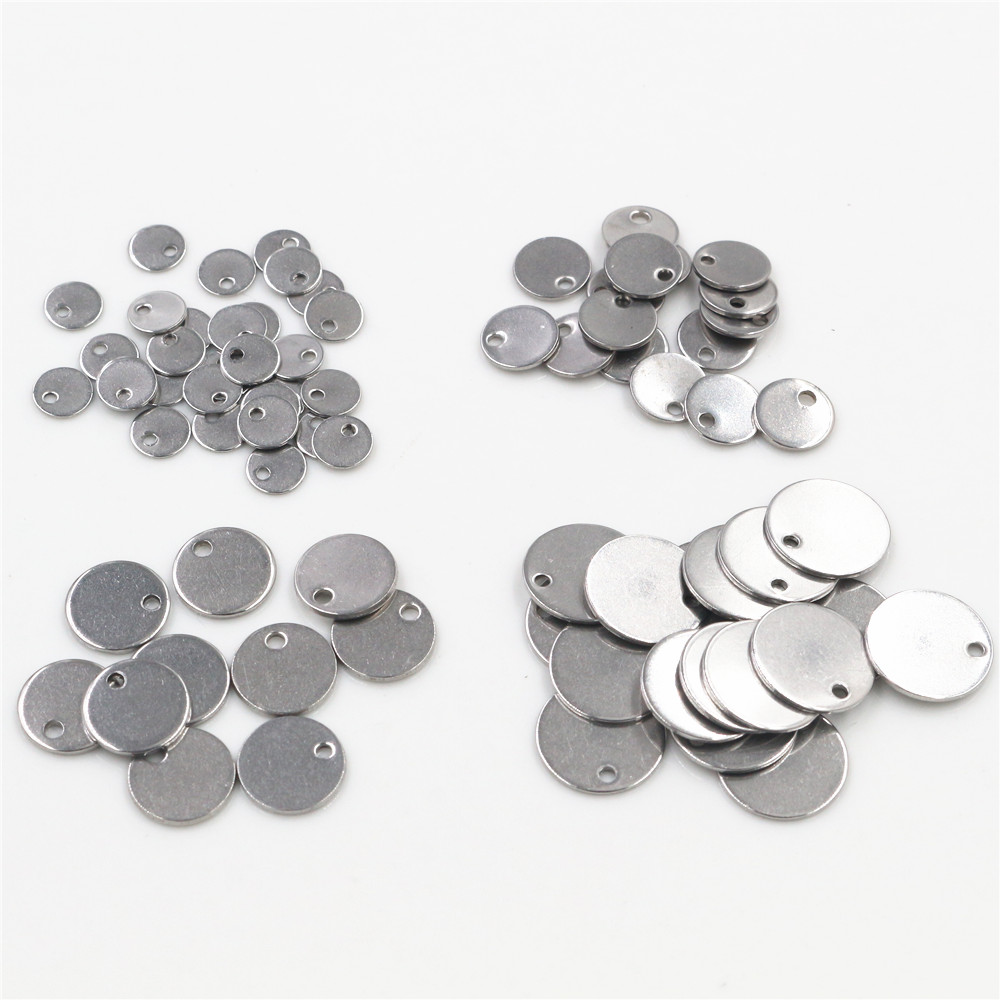 6mm 8mm 10mm 12mm No Fade Charms 316 Stainless Steel Round One Hole Charms For Necklace Pendant Charms Diy Jewelry Making