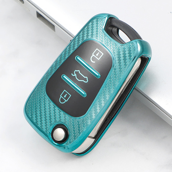 Luxury Carbon Fiber TPU Car Key Cover Case For Hyundai i20 i30 ix35 Creta Solaris Elantra Accent For Kia Ceed K2 K5 Rio Sportage olomm new remote key shell for hyundai i20 i30 ix35 i35 accent kia picanto sportage k5 3 buttons flip folding remote key case