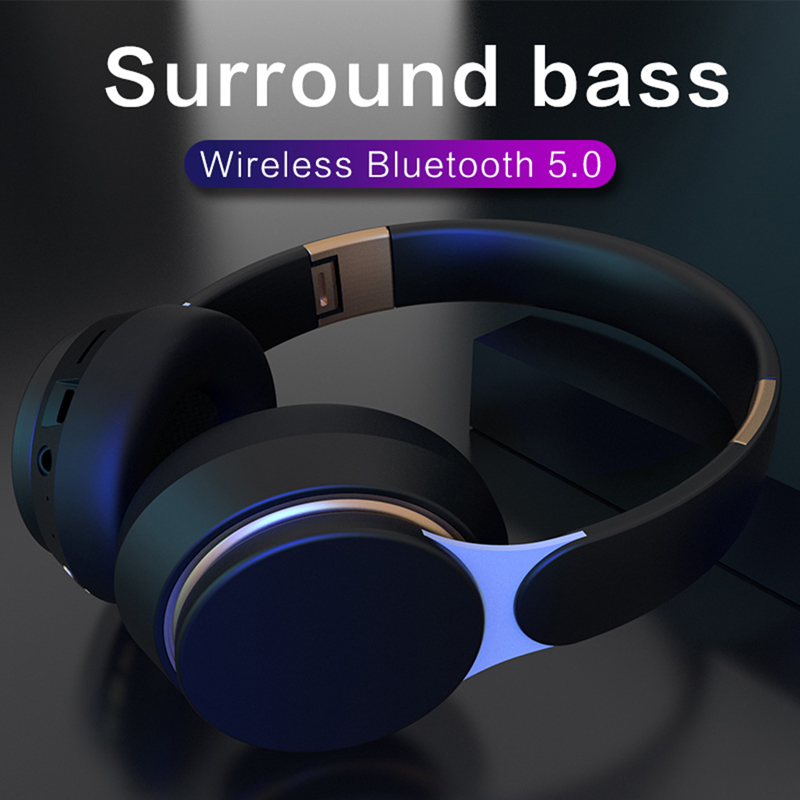 Bluetooth наушники беспроводная гарнитура портативный складной поддержка встроенный-в TF карта FM-радио MP3-плеер дыхательные огни над глубокими уха бас