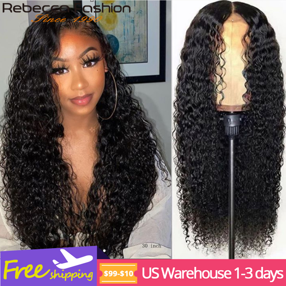 Rebecca Mongolian Kinky Curly Human Hair Wigs 30 Inch Curly Lace Front Wig Remy Jerry Curly Lace Front Human Hair Wigs For Woman