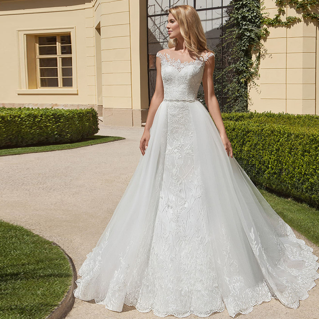 2020 حورية البحر فساتين الزفاف مع ذيل قابل للانفصال Vestido De Noiva Sereia حزام لامع يزين 2 قطعة البوق فساتين الزفاف