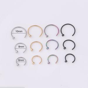 2020 Fake Piercing Medical Titanium Nose Ring For Women Open Hoop Ring Type Hoop Piercing Stud Body Jewelry Accessories