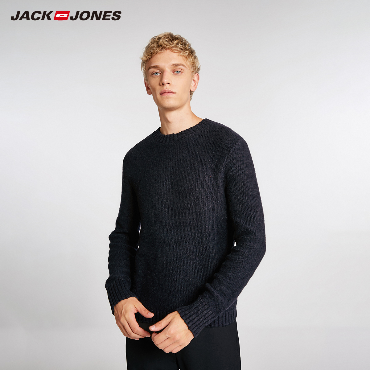 JackJones Men's Basic Solid Colour Wool Fabric Sweater 218425528