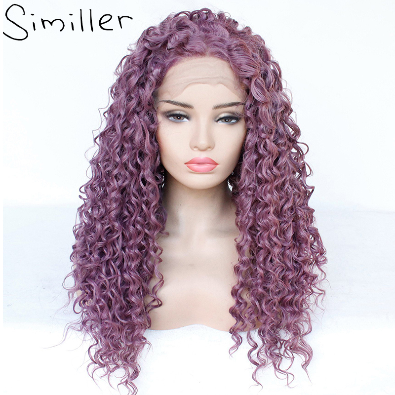 Similler Jerry Curls Long Lace Front Synthetic Wig For Women Glueless 13x3 Deep Curly Wigs Purple