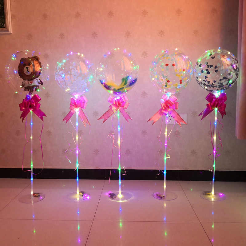 LED Light Balloon Stick Birthday Party Decorations kids Clear Balloons Globos Stand Holder Wedding Decor Baloon Supplies