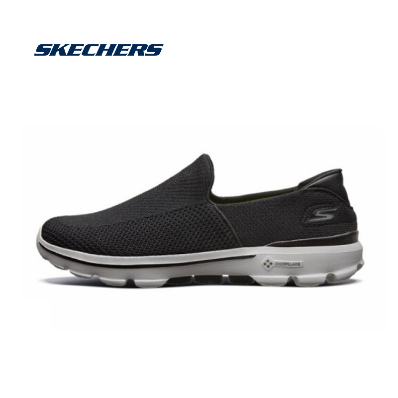 Skechers Men Loafers Comfortable Light Man Shoes Slip On Spring  Moccasins Flats Soft Breathable Casual Shoes Men 54057-BKGY