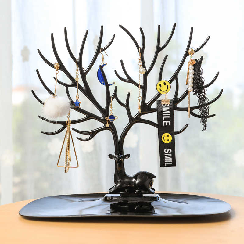 Qingwen กวางต่างหูสร้อยคอแหวนจี้สร้อยข้อมือเครื่องประดับยืนแสดงถาดต้นไม้เครื่องประดับผู้ถือ CE0560