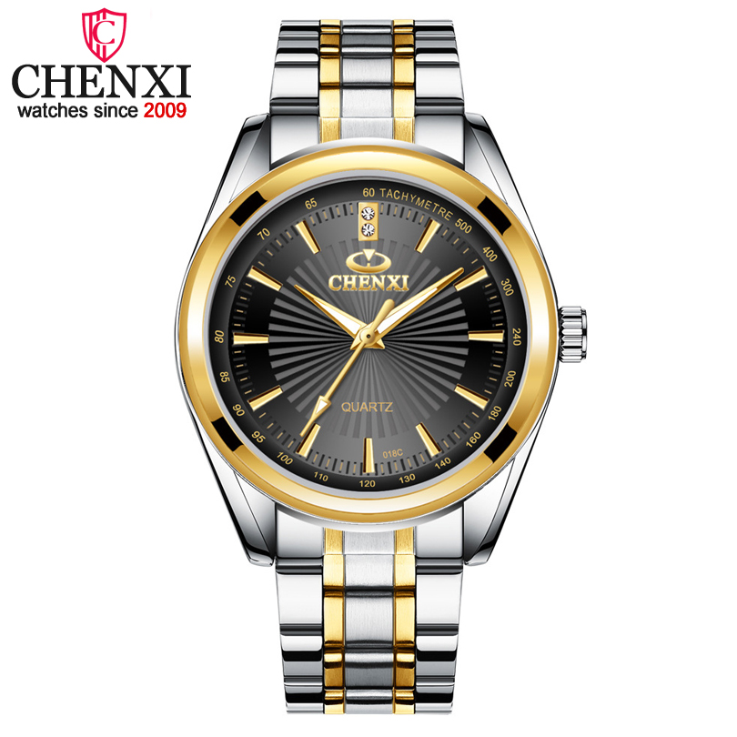 CHENXI Brand Fashion Luxury Watch Men Casual Stainless Steel Gold Gift Clock Quartz Male Wristwatch  Relogios Masculinos Famosas