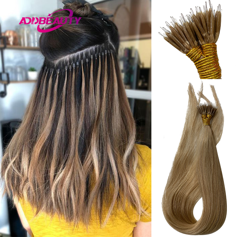 Straight Nano-Ring Hair Extensions 1g/pcs 50pcs/Set Keratin Capsules Micro Rings Remy Human Hair Natural Brown 613 Blonde Color