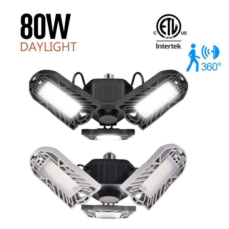 E26 80W/60W Motion Sensor 144LEDs Deformable 6000/8000LM Glare Garage Light Home Lighting Industrial Lamp Workshop Ceiling Lamp