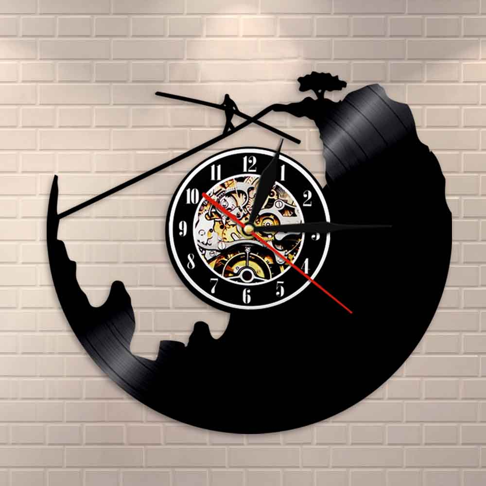 Tightrope Walking Wall Clock Funambulism Vinyl Record Clock Extreme Sports Highwire Decorative Clock Wire Walking Explorer Gift