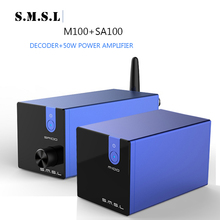 SMSL SA100+M100 Hifi Professional Power TPA3116D2 Amplfier 50W Amplifier M100 USB DAC DSD512 XMOS bluetooth amp  2 (2.0) 2018 tda7492 bluetooth amplifier fiber optic coaxial usb dac decoding amplifier 50w 50w hifi amplifier