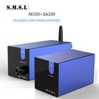 SMSL SA100+M100 Hifi Professional Power TPA3116D2 Amplfier 50W Amplifier M100 USB DAC DSD512 XMOS bluetooth amp 2 (2.0)