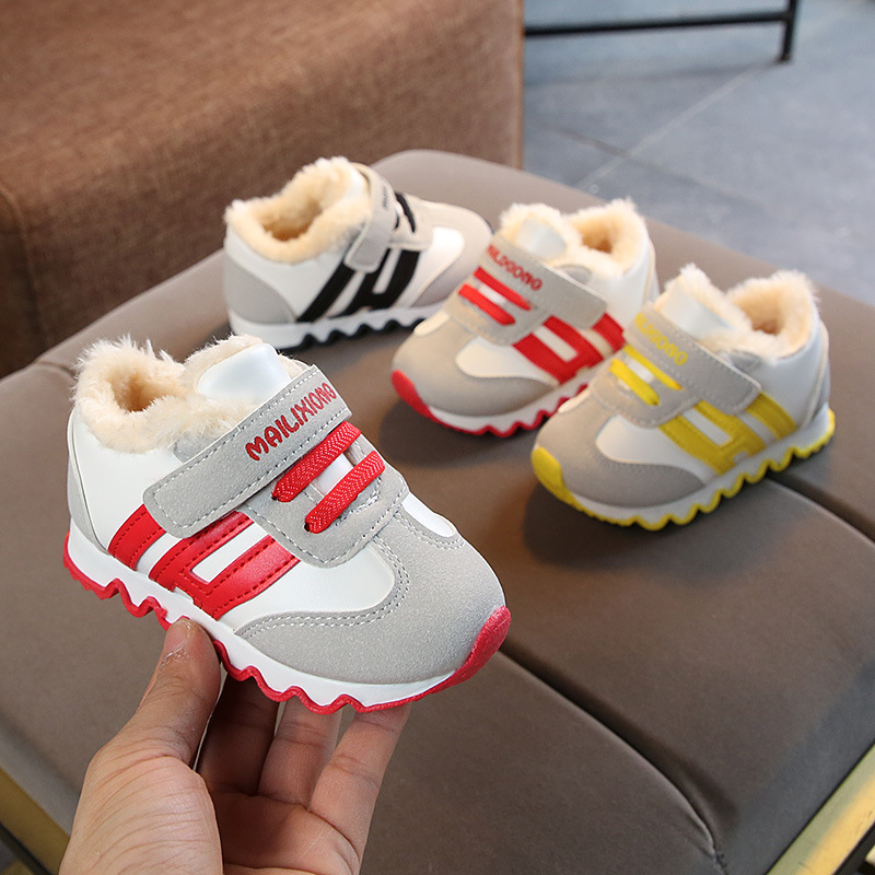 Winter Children's Cotton Shoes Plus Velvet Sneakers Boys And Girls Soft Bottom Baby Toddler Shoes