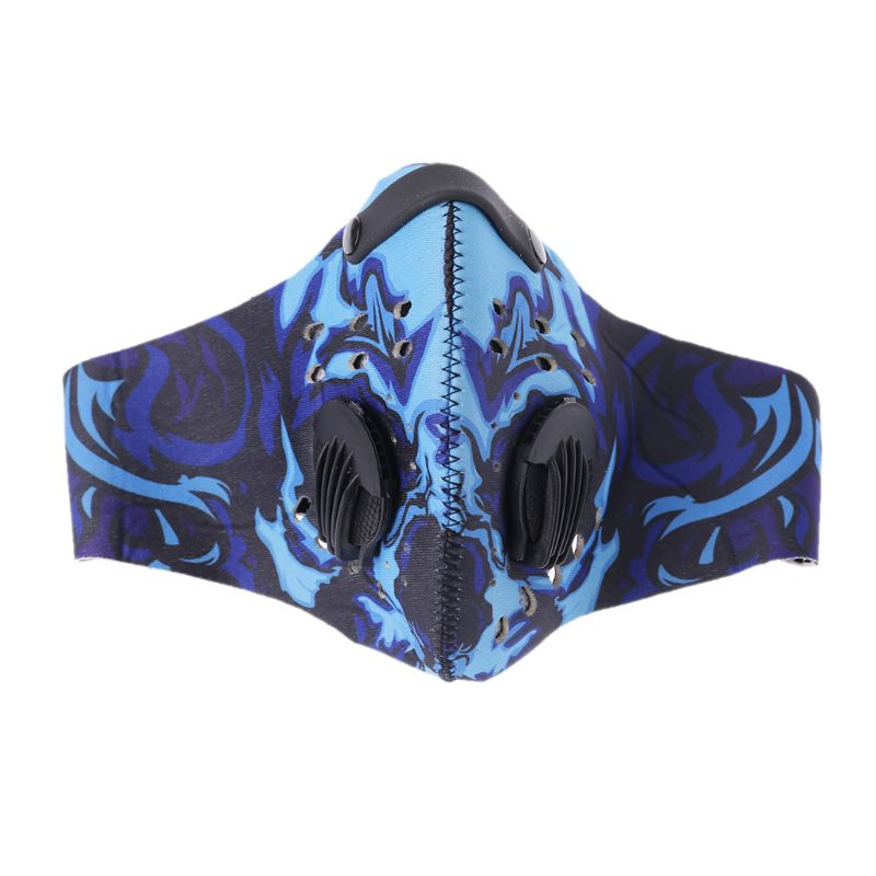 Unisex Cycling Anti-Dust Rubber PM2.5 Face Mouth Mask Colored Graffiti Printed Hip Hop Activated Carbon Filters Respirator With