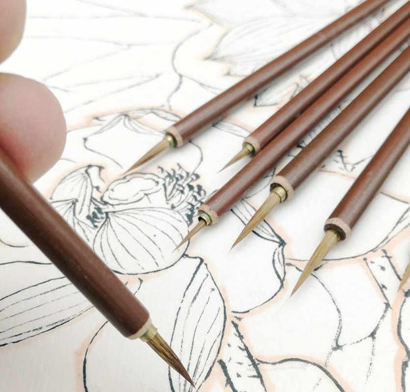 1 Uds. Cepillo de pelo de lobo gancho línea pluma caligrafía bambú Penholder artista dibujo pintura acuarela pintura suministros