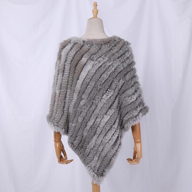 Fau Rabbit Fur Shawl Natural Real Knitted Poncho 3