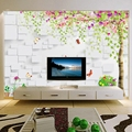 Изготовленный На Заказ 3D тиснением кирпич, дерево стена Wallcloth самоклеящиеся обои Гостиная ТВ диван фон стены домашнего декора Современная Ф...