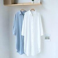 Mooirue 2020 Spring Summer Women Long Shirt Dress Split Loose Korean Style Streetwear Solid Straight White Blue Women Maxi Dress