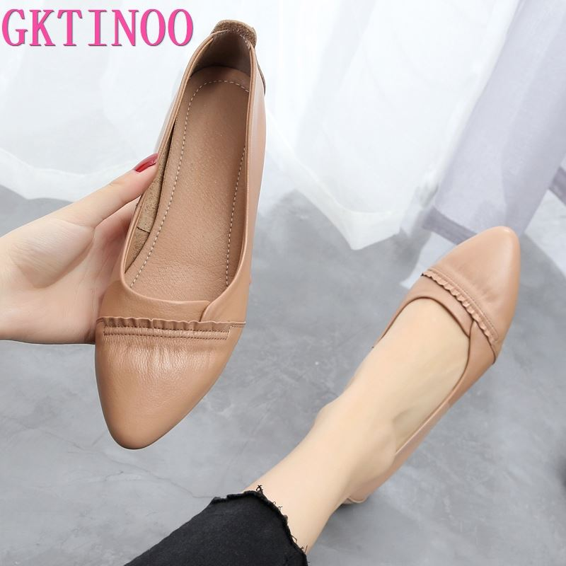GKTINOO 2020 Spring Genuine Leather Shoes Pointed Toe Women Flat Shoes Fashion Casual Shoe Soft Comfort Leather Shoes Large Size