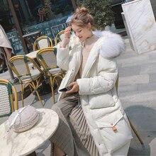 겨울 코트 웹 연예인 긴 무릎 다운 재킷 두꺼운 느슨한 면화 패딩 자켓