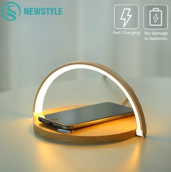 Wireless Charger LED Night Light Table Lamp Adjustable Angle Charging for iPhone Samsung Huawei Xiaomi Touch Switch Phone Holder