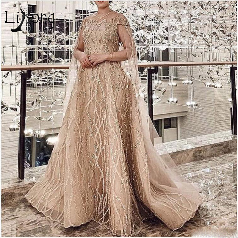 Elegant Sparkle Beaded A-line   Prom     Dresses   With Cloak Sequined Lace Long Evening Gowns Champagne Formal   Dresses