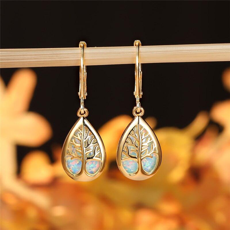 White Blue Fire Opal Tree of Life Earrings For Women Retro Fashion Luxury Yellow Gold Water Drop Earrings Female Wedding Jewelry