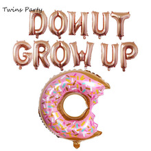 Twins Party Donut Grow Up Foil Balloons Sweet Two Letter Baby Shower Theme Birthday Wedding Candy Favors Supplies