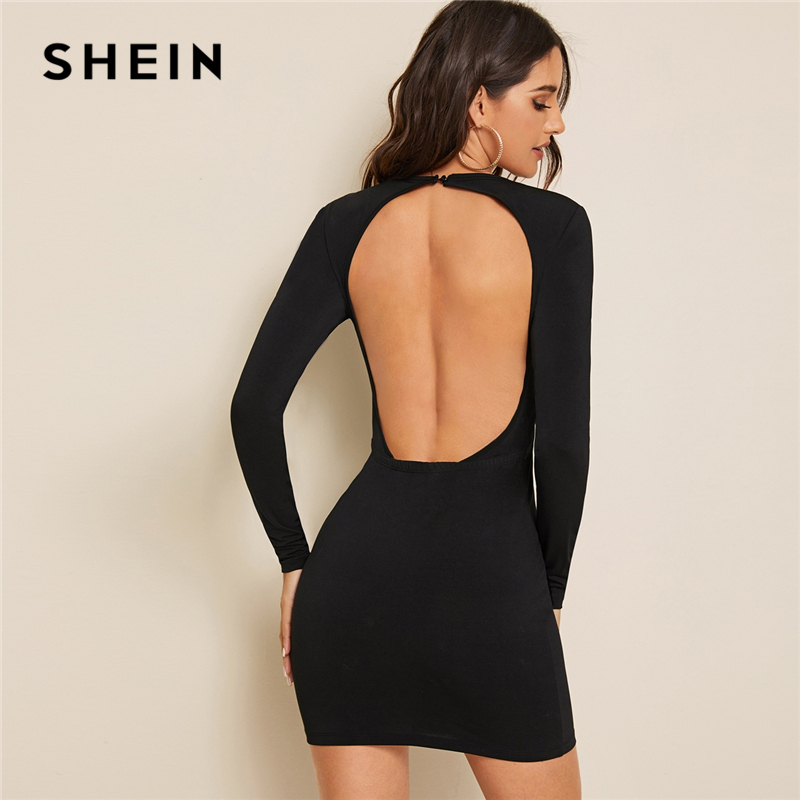 SHEIN Black Solid Round Neck Backless Sexy Pencil Dress Women 2019 Autumn Long Sleeve Slim Fitted Ladies Bodycon MIni Dresses