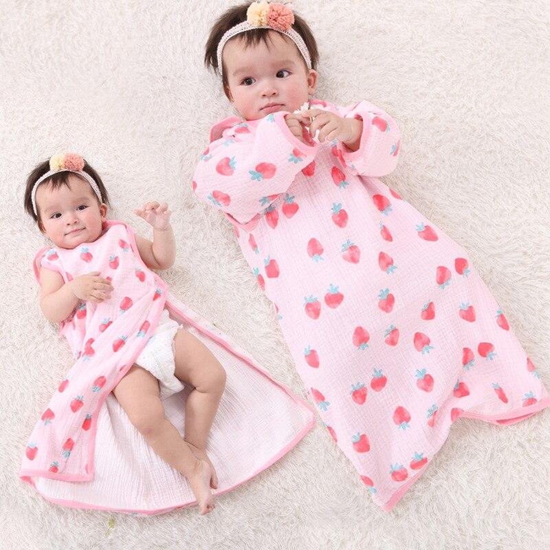 Spring Summer Thin Muslin Button Baby Children's Sleeping Bag Kid Baby Vest Sleep Sack Diaper Cocoon For Newborn Blanket Sweater