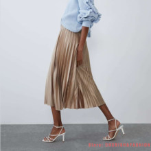 Spring Autumn Fashion Women's High Waist Pleated Solid Color Half Length Elastic Skirt Promotions Lady Green Pink Blue(China)