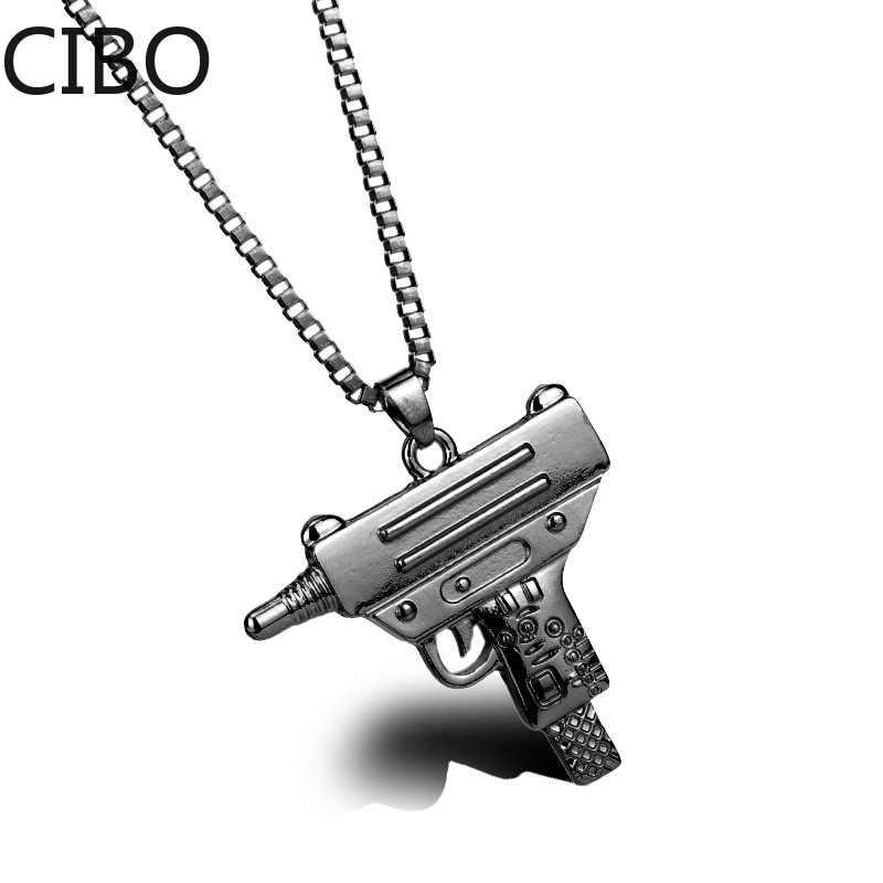 2019 جديد PUBG لعبة عوزي بندقية شكل قلادة قلادة الرجال الهيب هوب مجوهرات الجيش نمط سلسلة معدنية الرجال القلائد القوطية