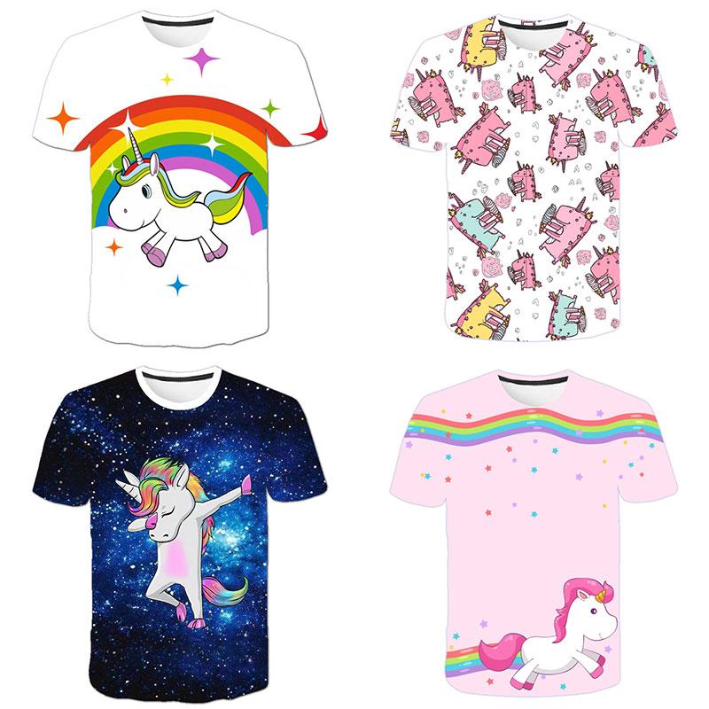 H3072aa41b85d47de8ae5b33c26f53c59e Baby Girls T-shirt 4 5 6 7 8 9 10 11 12 13 14 Years Unicorn Kids T Shirt Children Clothes Summer Unicorn T shirts Girl s Tee