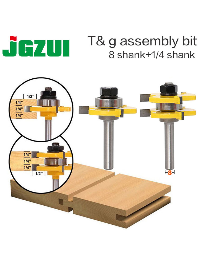 Router-Bit-Set Groove-Joint-Assembly Cutting Wood Tongue Tool-Rct 8mm Shank 2-Pc Stock