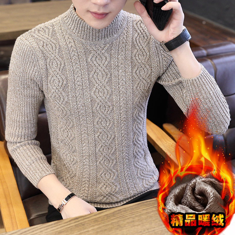 Fleece Mens Sweaters Long Sleeve Winter Turtleneck Pullovers Solid Casual New Fashion Men Sweater Black Gray Brown