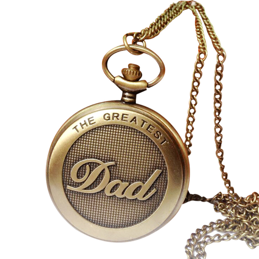 Vintage Chain Retro The Greatest Pocket Watch Necklace For Grandpa Dad Gifts Watch Clock Wholesale Relogio De Bolso #4O04