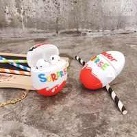Nette kinder spaß eier Drahtlose Bluetooth Kopfhörer Fall Für AirPods 2 1 Schokolade überraschung Box 3D weiche Silikon Headset abdeckung