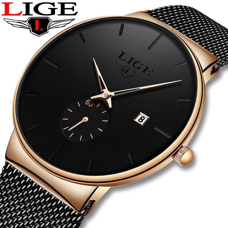 LIGE Quartz Watch Women And Men Watch Top Brand Luxury Famous Dress Fashion Watches Unisex Ultra Thin Wrist watch Para Hombre|Quartz Watches| - AliExpress
