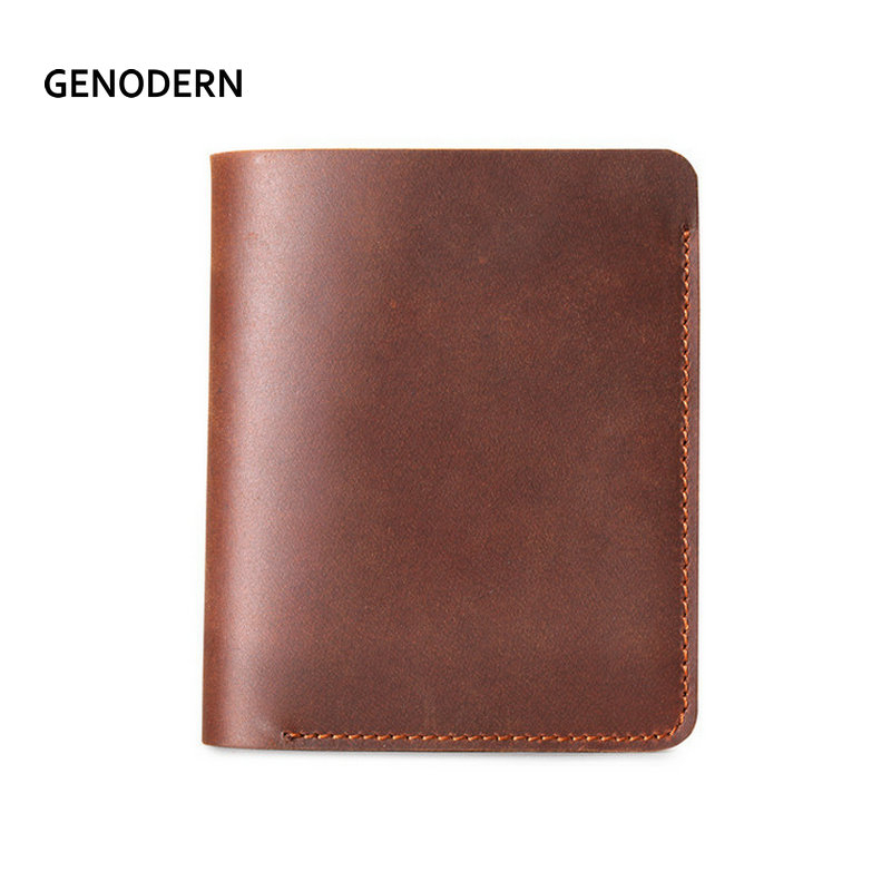 GENODERN Vintage Crazy Horse Leather Men Wallets Retro Handmade Minimalist Wallet for Man Small Purse Thin Male Purses