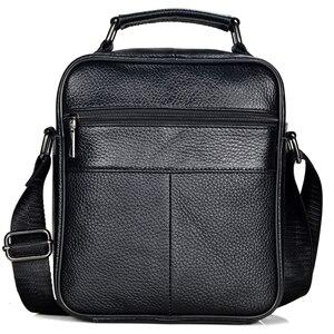 Image 3 - Hommes en cuir véritable sacs à main mâle de haute qualité en cuir de vachette sacs de messager hommes Ipad sac daffaires taille moyenne mallette fourre tout