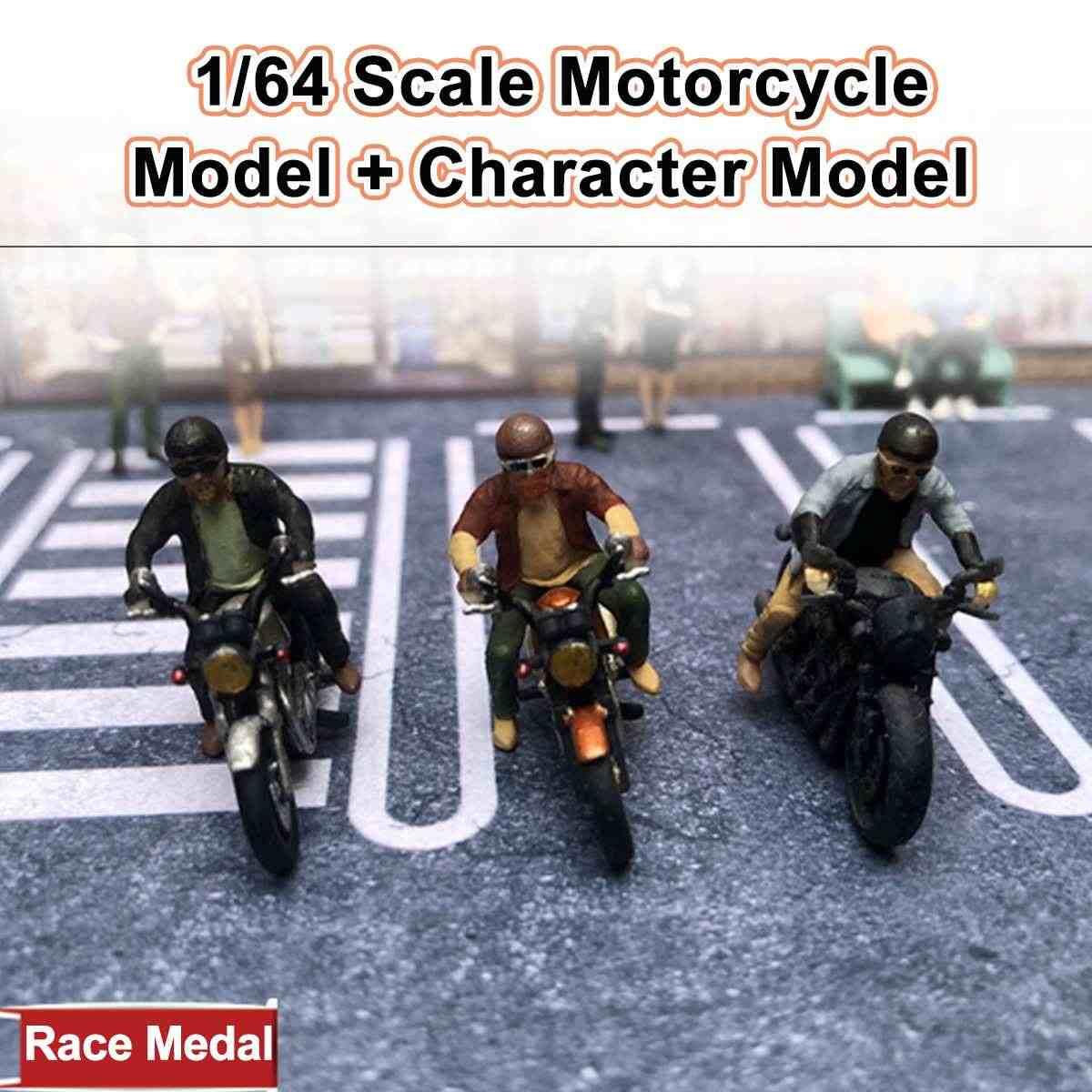 1: 64 Diorama Motor Karakter Kemeja Helm Model Gambar Orang Model Skenario Set untuk Kotak Korek Api Mainan Anak Group dengan Kotak