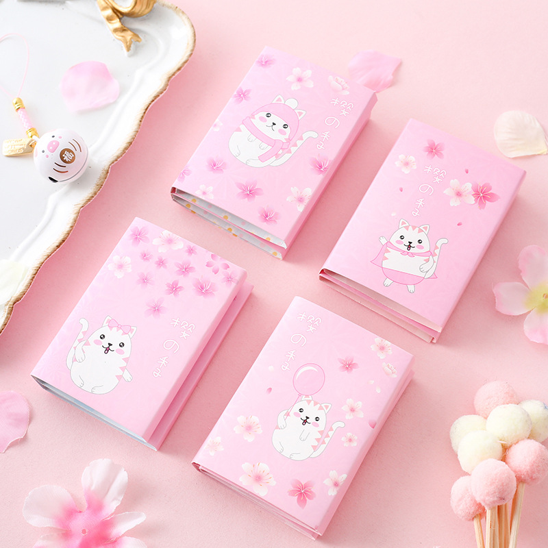 1pc Cartoon Cute Cat In The Sakura Sticky Notes Multi Folding Writing Pads Label Mark Kawaii School Supply