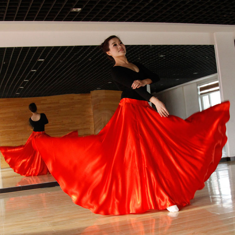 Long Style Women Spanish Stage Wear Dance Performance Flamenco Skirt Costumes Satin High Quality Polyester 360-720 Degree Skirt