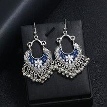 Vintage Antique Hollow Heart-shaped Drop Earrings Carved Flower Tassel Bead Dangle Earring Silver Alloy Ethnic Female Jewelry