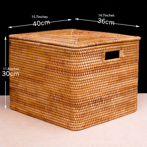 Image 5 - Laundry Basket Rattan Woven Storage Basket Handmade Brown Large Capacity Portable Clothing Storage Box Indoor Household Items