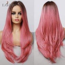 EASIHAIR – perruque synthétique Lolita ondulée longue, Ombre rose, racine foncée, colorée, pour femmes blanches/noires, Cosplay, résistante à la chaleur
